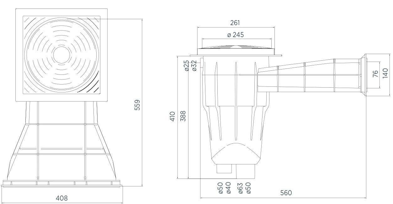 Medidas de Skimmer especial de 408mm